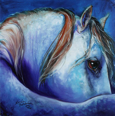 Abstract Equine Painting - Blue Moonstruck Arabian by Marcia Baldwin
