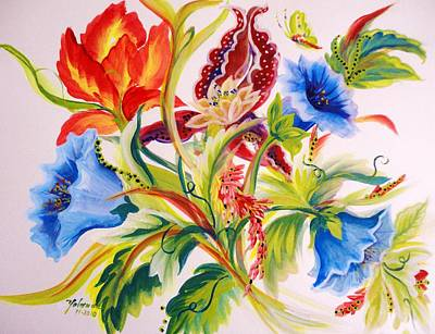 Art Print featuring the painting Blue Morning Glories by Yolanda Rodriguez