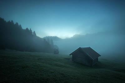 Mountain Cabin Wall Art - Photograph - Blue Morning by Petra M. Schmitz