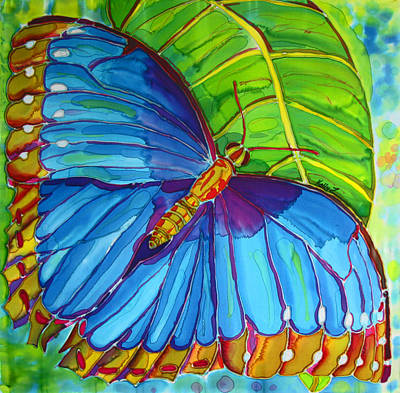 Painting - Blue Morpho Butterfly On Zebra by Kelly     ZumBerge