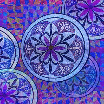 Blue Mosaic Circles And Flowers Original by Tony Rubino