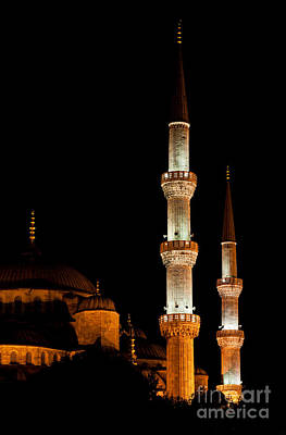 Photograph - Blue Mosque At Night 01 by Rick Piper Photography