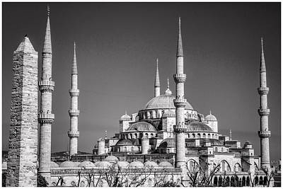 Photograph - Blue Mosque Black And White by For Ninety One Days