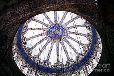 Photograph - Blue Mosque Ceiling by John Rizzuto