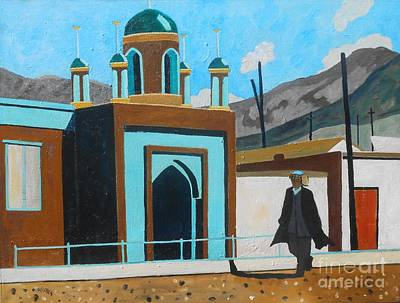 Silk Road Painting - Blue Mosque China by Lesley Giles