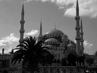 Photograph - Blue Mosque From Sultanahmed Square - Black And White by Jacqueline M Lewis