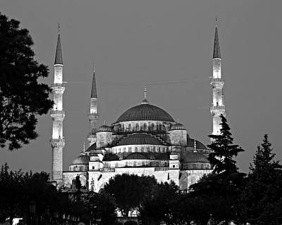 Blue Mosque In Black And White Art Print by Stephen Stookey