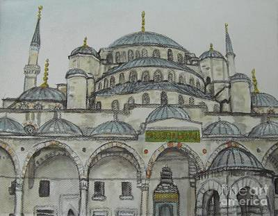 Painting - Blue Mosque Istanbul Turkey by Malinda  Prudhomme