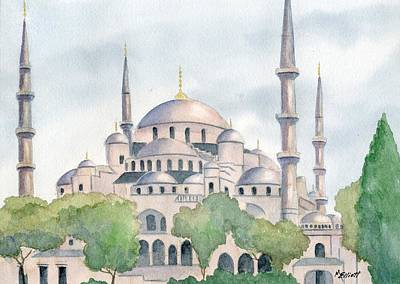 Mosque Painting - Blue Mosque by Marsha Elliott