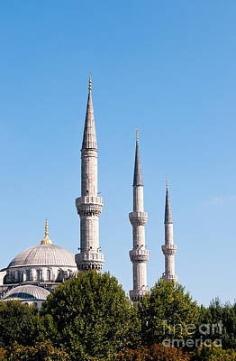 Photograph - Blue Mosque Minarets by Rick Piper Photography