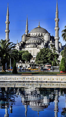 Byzantine Photograph - Blue Mosque Reflection by Stephen Stookey