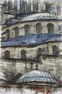 Eastern Europe Drawing - Blue Mosque Sketch by Antony McAulay