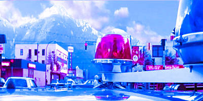 Villa Mixed Media - Blue Mountain Haven On Earth Beautiful Snow Season Cool Kool   Pink White Rush Party Engage Chrismas by Navin Joshi