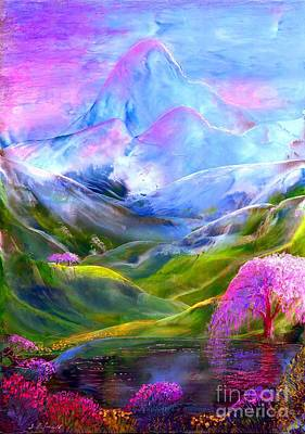 Fantasy Tree Art Painting - Blue Mountain Pool by Jane Small