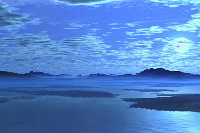 Digital Art - Blue Mountains Blue Lake by Judi Suni Hall