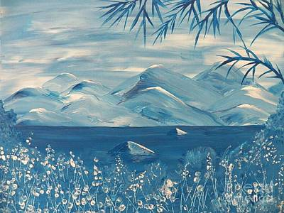 Seacape Painting - Blue Mountains by Judy Via-Wolff