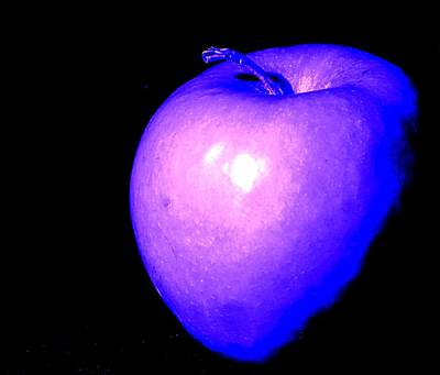 Photograph - Blue Neon Apple by Ian  MacDonald