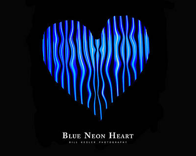 Photograph - Blue Neon Heart by Bill Kesler