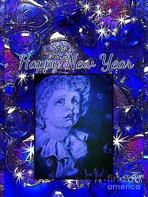 Photograph - Blue New Year Bubbles by Joan-Violet Stretch