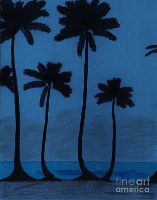 Blue - Night - Beach Art Print