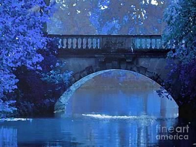 Maureen Digital Art - Blue Night Bridge by Maureen Tillman