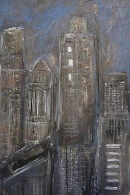 Painting - Blue Night Close Up 1 by Anita Burgermeister