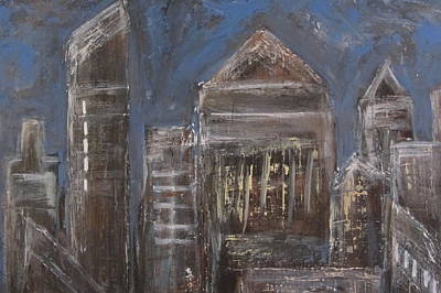 Painting - Blue Night Close Up 6 by Anita Burgermeister