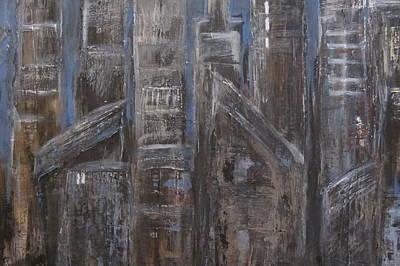 Painting - Blue Night Close Up 7 by Anita Burgermeister