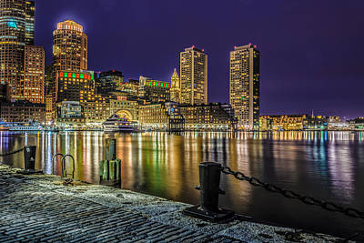 Photograph - Blue Night Over Boston Harbor  by Ludmila Nayvelt