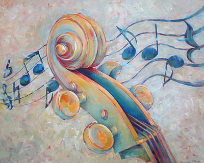 Blue Notes - Cello Scroll In Blues Art Print by Susanne Clark