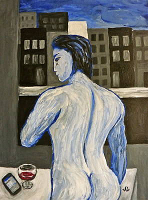 Cognac Painting - Blue Nude Contemplating by Victoria Lakes