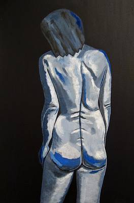 Nudes Painting - Blue Nude Self Portrait by Sandra Marie Adams