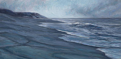 Coastal Painting - Blue Ocean by Lucie Bilodeau