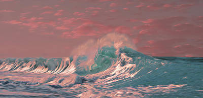 Print featuring the digital art Blue Ocean Wave by Timothy Hack