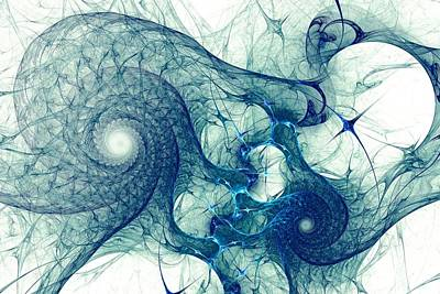 Abstract Forms Digital Art - Blue Octopus by Anastasiya Malakhova