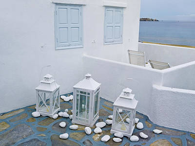 Photograph - Mykonos Blue Lanterns by Brenda Kean