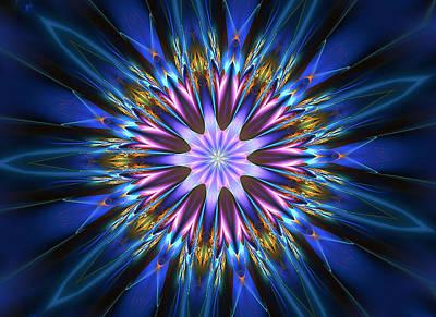 Blue Oomph Fractal Mandala Art Print