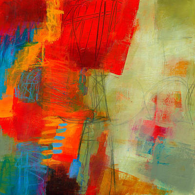 Abstract Painting - Blue Orange 1 by Jane Davies