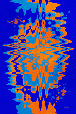 Ties Mixed Media - Blue Orange Abstract by Christina Rollo