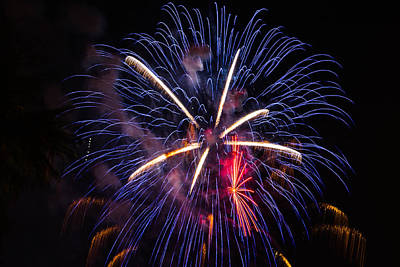 Photograph - Blue Orange Red Fireworks Galveston by Jason Brow