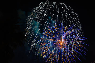 Photograph - Blue Orange White Fireworks Galveston by Jason Brow
