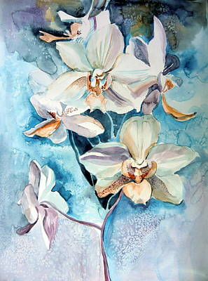 Florida Flowers Drawing - Blue Orchid by Mindy Newman