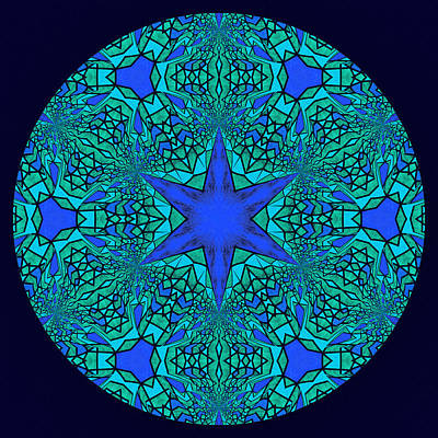 Tantra Digital Art - Blue Ornamental Mandala by Georgiana Romanovna