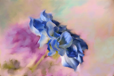 Blue Painted Flower Art Print by Mary Timman