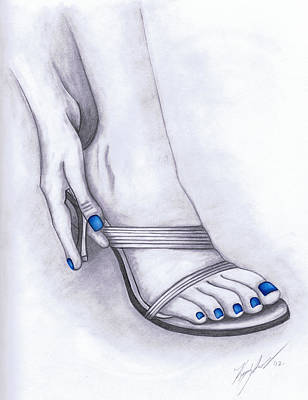 Fetish Art Mixed Media - Blue Painted Toenails by Kamil Swiatek
