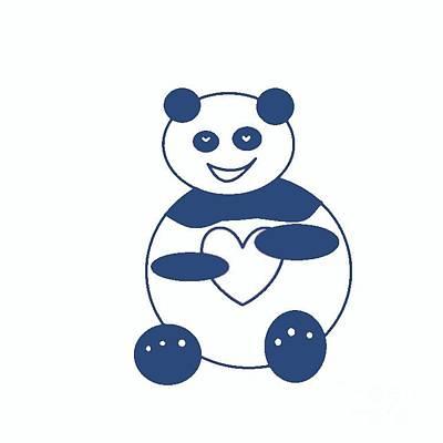 Photograph - Blue Panda With A Heart by Ausra Huntington nee Paulauskaite