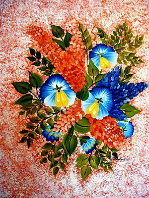 Barbara Griffin Art Painting - Blue Pansies Bouquet by Barbara Griffin