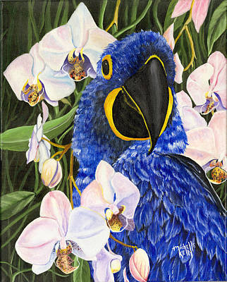 Blue Parrot  Art Print by Michelle Kelly