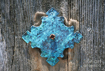 Blue Patina On Copper Mission Door Ornament Macro Print by Shawn O'Brien