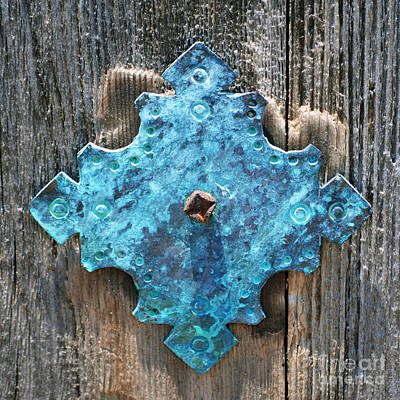 National Park Photograph - Blue Patina On Copper Mission Door Ornament Macro Square Format by Shawn O'Brien